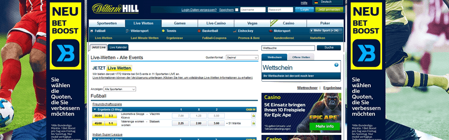 William Hill Gutschein